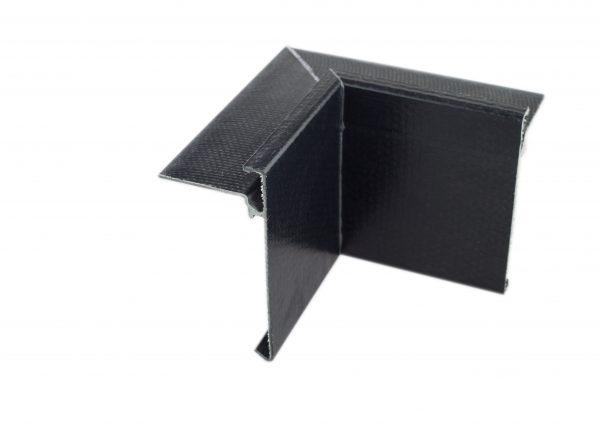 76mm Face GRP Asphalt trim Internal Corner Black
