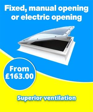 The Mardome Trade Range Rooflight has three ventilation options